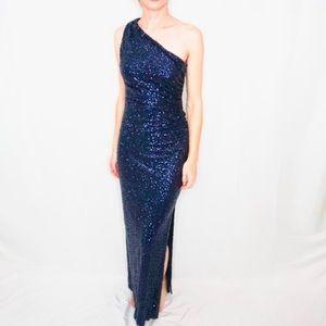 Ralph Lauren Evening Blue Sequin Gown Dress